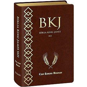 BIBLIA SAGRADA - KING JAMES FIEL COM ESTUDO HOLMAN - CAPA MARROM