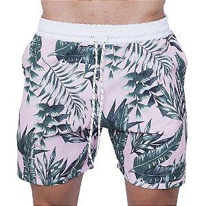 Shorts Tactel Masculino Rosa Folhas