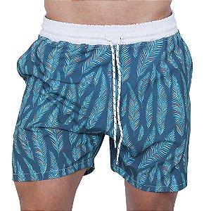 Shorts Tactel Masculino Azul Esverdeado Folhas
