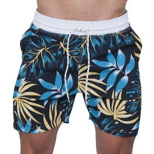 Shorts Tactel Masculino Preto folhas Azul e Amarelo