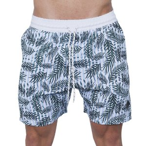Shorts Tactel Masculino Listrado com Folhas