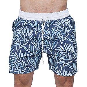 Shorts Tactel Masculino Azul Folhas
