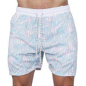 Shorts Tactel Masculino Listra e Folhagem Turquesa