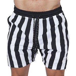 Shorts Tactel Masculino Listrado Preto e Branco
