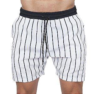 Shorts Tactel Masculino Listrado Preto e Amarelo