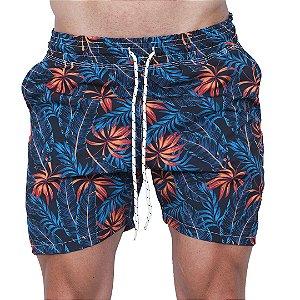 Shorts Tactel Masculino Folhas Azul e Laranja