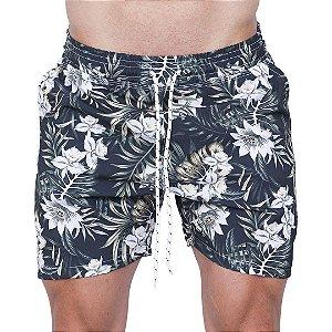 Shorts Tactel Masculino Preto Flores Brancas