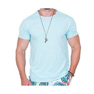 Camiseta Básica Masculina Azul Água