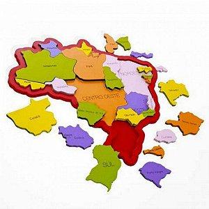 Quebra-Cabeça Duplo Newart Mapa do Brasil Estados e Regiões