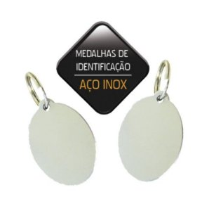 MEDALHA DE IDENTIFICACAO EM ACO INOX