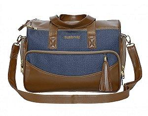 Bolsa Maternidade Aspen M | Cor: Jeans/Caramelo
