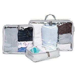 Organizador de Mala Nórdica Masterbag Kit com 3 | Cor: Cinza/Branco