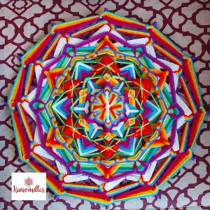 Mandala 12 pontas 35 cm Multicolorida Peça Exclusiva.