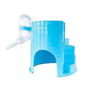 Casinha plastica com bebedouro para hamster azul - Savana - 12x12x12cm