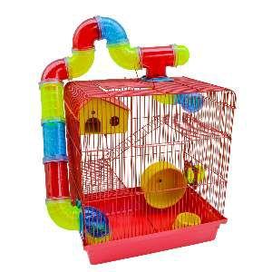 Gaiola para Hamster 3 Andares Labirinto - Jel Plast - (43 cm x 28 cm x 26 cm) - Vermelha