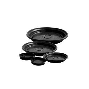 Prato plástico para vaso preto N4 - Jorani - 24x3,5cm