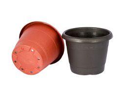 Vaso plastico com borda e prato preto VB-16 - Big Plast - 16x14x12cm