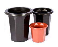 Vaso plastico preto OCT-17 - Big Plast - 17x22,5cm