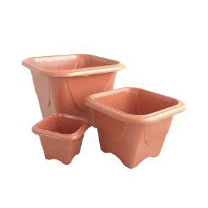 Vaso plastico quadrado N1 ceramica 400 ml- Jorani - 11,5x11,5x8cm