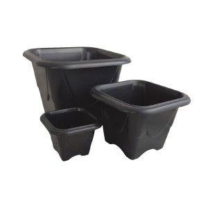 Vaso plastico quadrado N2 preto 1,75L- Jorani - 18x18x13cm