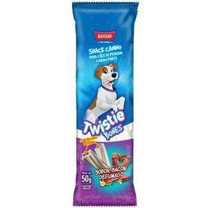 Snacks osso recheado bacon P/M 50g - Bassar Pet Food - com 2 unidades