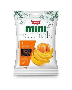 Snacks mini naturals fit 60g - Bassar Pet Food - banana e abobora