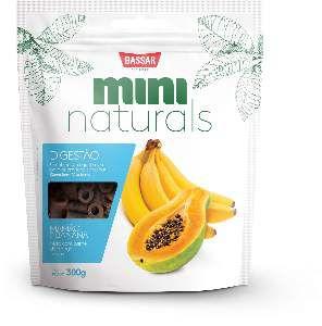 Snacks mini naturals digestao 300g - Bassar Pet Food - mamao e banana