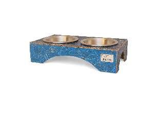 Comedouro ecologico duplo azul P - Club Pet Recriar - 33x8x19cm