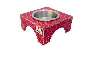 Comedouro ecologico simples vermelho G - Club Pet Recriar - 20x10x22cm