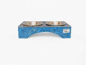 Comedouro ecologico duplo azul G - Club Pet Recriar - 50x13x25cm