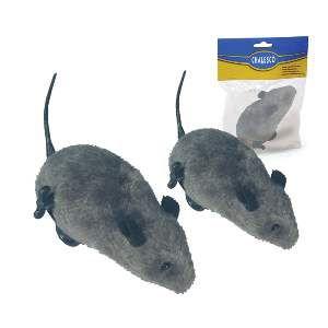 Brinquedo pelucia e plastico rato com corda grande - Chalesco - 11cm