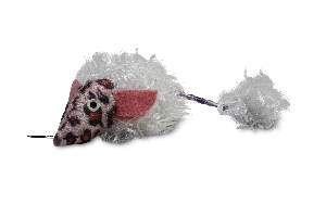 Brinquedo pelucia ratinho com vibracao branco - Savana - 25x5cm