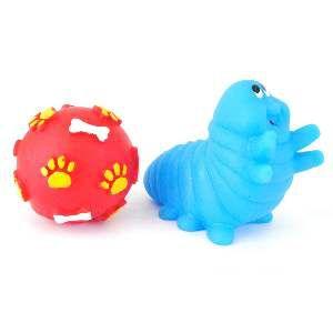 Brinquedo vinil bola pata osso com lagarta - Club Pet Nicotoys - 12x12cm