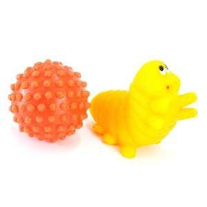 Brinquedo vinil bola mini cravo com lagarta - Club Pet Nicotoys - 12x12cm