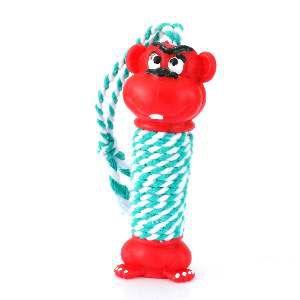 Brinquedo vinil macaco halteres com corda - Club Pet Nicotoys - 31x5,5cm