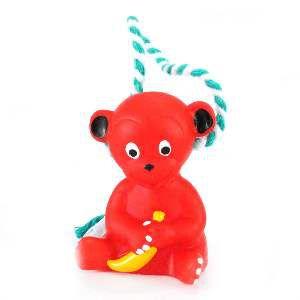Brinquedo vinil macaco com corda - Club Pet Nicotoys - 18x7cm