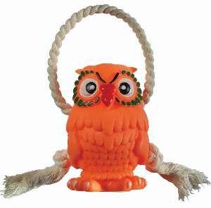 Brinquedo vinil coruja com corda - Club Pet Nicotoys - 24x8cm