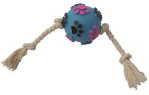 Brinquedo vinil bola pata relevo com corda - Club Pet Nicotoys - 34x8cm