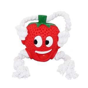 Brinquedo vinil morango com corda - Club Pet Nicotoys - 30x14cm