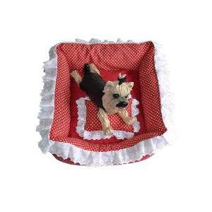 Cama tecido quadrada com babado P - Club Pet Chickao - 55x55x24 cm