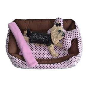 Cama tecido retangular com manta G - Club Pet Chickao - 81x61x27cm
