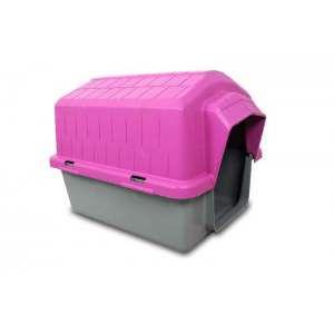 Casa plastica super resistente rosa N5 - Club Pet Alvorada - 83x67x61cm