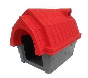 Casa plastica chamine N1 vermelha - Click New - 53x41,5x46cm