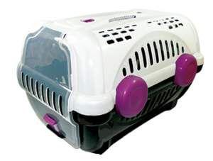 Caixa de transporte luxo N1 - Branca com rosa - Furacao Pet - 43x30x28,5cm - até 4kg
