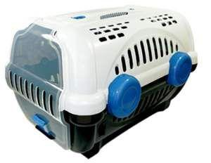 Caixa de transporte luxo N1 - Branca com azul - Furacao Pet - 43x30x28,5cm - até 4kg