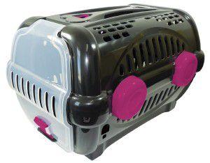 Caixa de transporte luxo N3 - Black com rosa - Furacao Pet - 60x40x36,5cm - até 12kg
