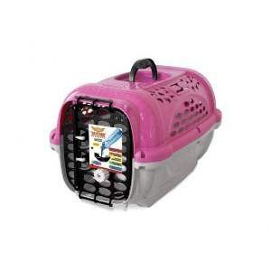 Caixa de Transporte Panther sem Bebedouro Nº 1 - Plast Pet - Rosa - 44x31x27cm