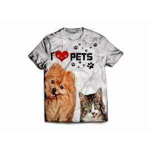 Camiseta poliester I love pets GG - Club Pet Dantas - 77x58cm