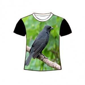 Camiseta poliester passaro preto GG - Club Pet Dantas - 77x58cm