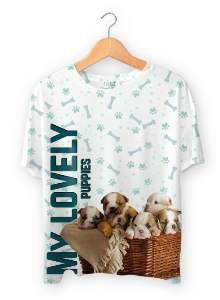 Baby look poliester lovely puppies P - Club Pet Dantas - 56x38cm